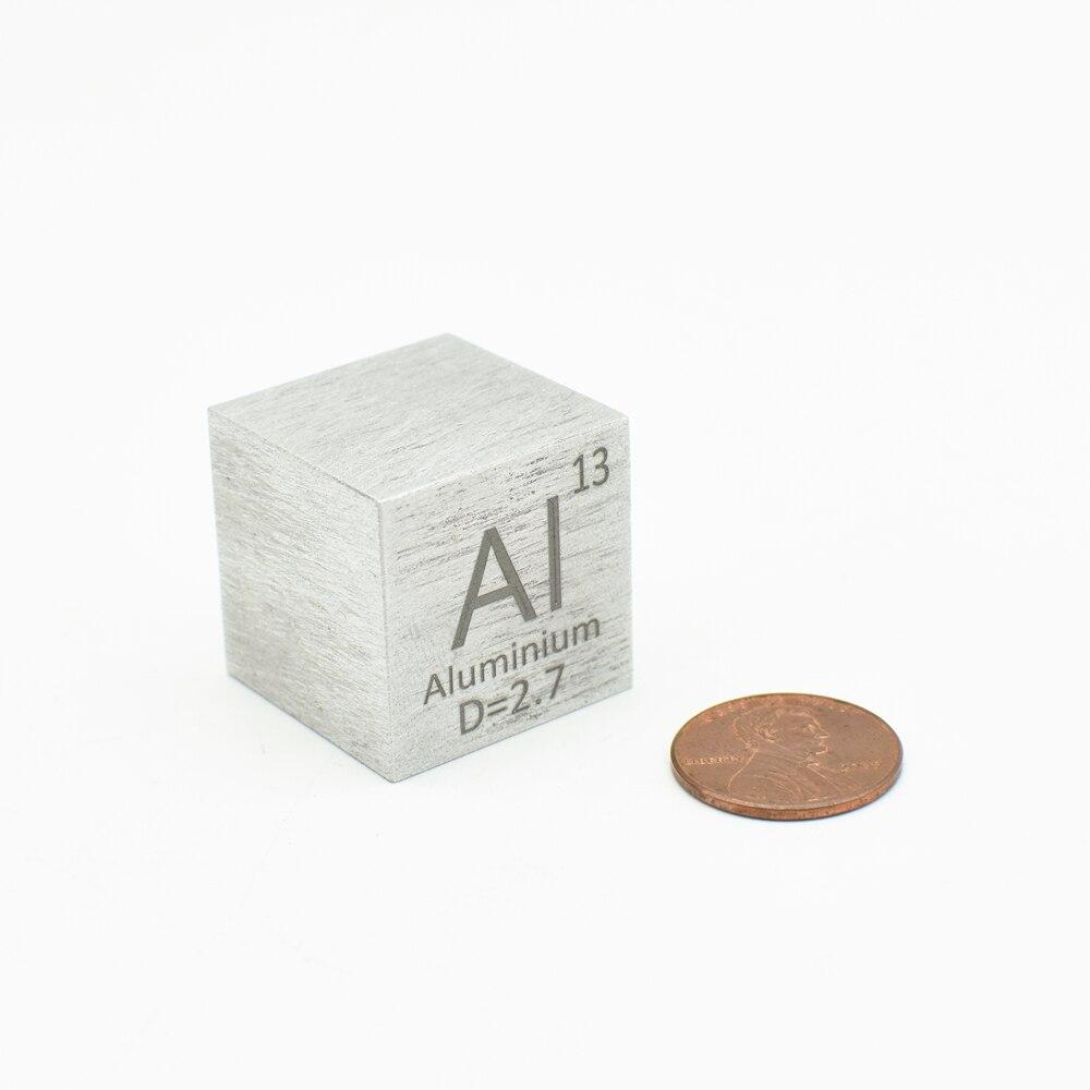 معدن الألومنيوم 1 بوصة الكثافة مكعب Al 99.99% النقي منحوتة عنصر الجدول الدوري جمع المعادن DIY عرض 25.4x25.4x25.4 Mm