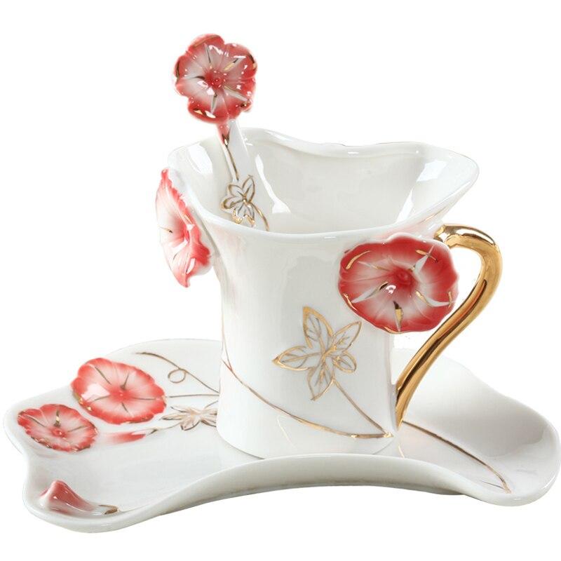 السيراميك فنجان القهوة طبق ملعقة الإبداعية الزفاف هدية عيد ميلاد الأوروبي العظام الصين الأسود فنجان شاي المعلم عيد الحب هدية