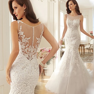 2020 New Bride Dress Strapless Mermaid Lace White Wedding Dresses Dress Can Be Customized Plus Size Mariage Floor Length Gowns