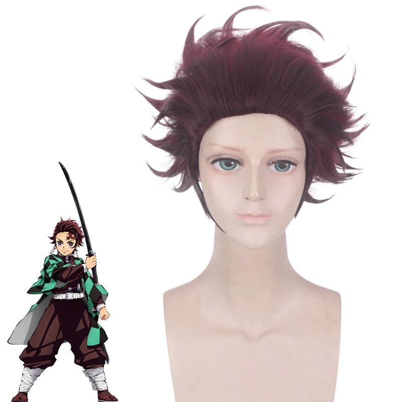 Demon Slayer Kimetsu No Yaiba Tanjiro Kamado peluca larga/corta castaña marrón resistente al calor pelo Anime pelucas de cosplay