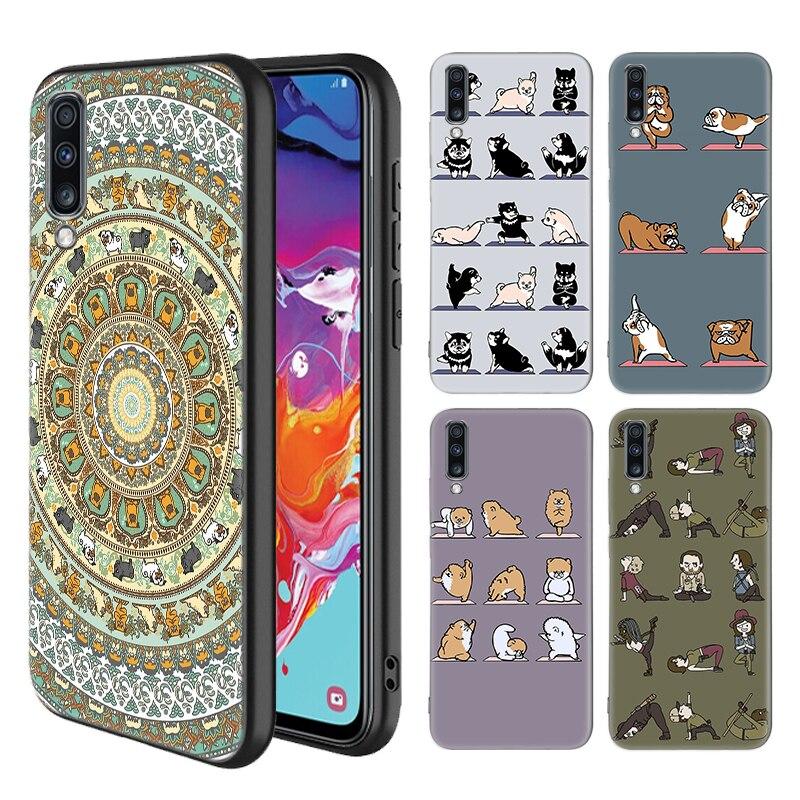 Funda de animales de Yoga Gatos Perros para Samsung Galaxy A50 S A70 A80 A60 A30 A20 e A10 A9 A7 A8 Plus 2018 carcasas de teléfono blandas negras
