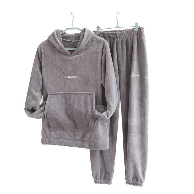 Autumn Winter Pajamas Set Women Loungewear Fleece Sleepwear Home Suits Homewear Ladies Warm Plush Lo
