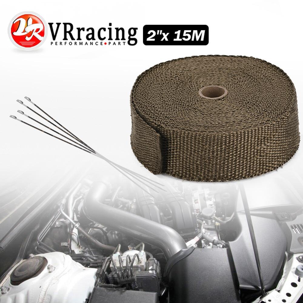 VR -2 pulgadas X15meter titanio TURBO colector de escape térmico cinta de envoltura térmica + 6 uds bridas de acero inoxidable VR1915T