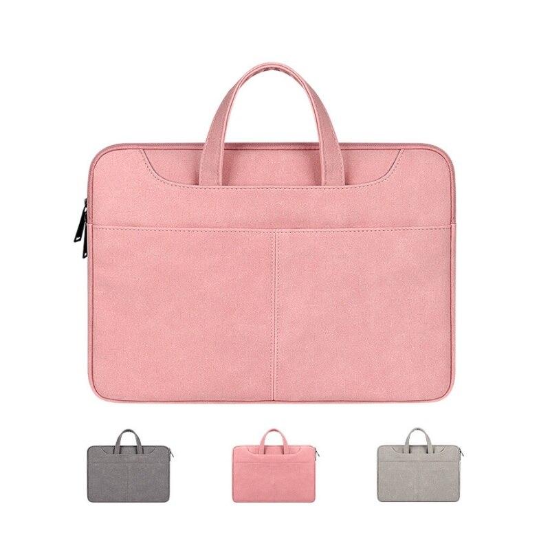 PU Leather Laptop Bag 13.3 14.1 15.6 Waterproof Notebook Case Bag Macbook Air Pro Xiaomi Huawei Comp