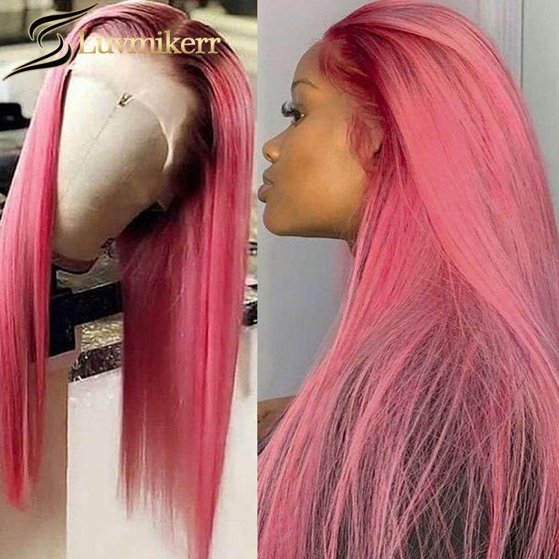 Парики Hd Омбре розового цвета прямые 13x6, полноразмерные парики без клея, 360 волнистых волос, предварительно выщипанные светлые человеческие...