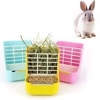 grass stand plastic small animals feeder removable 2 in 1 pet food feeder grass rack fixed feeder