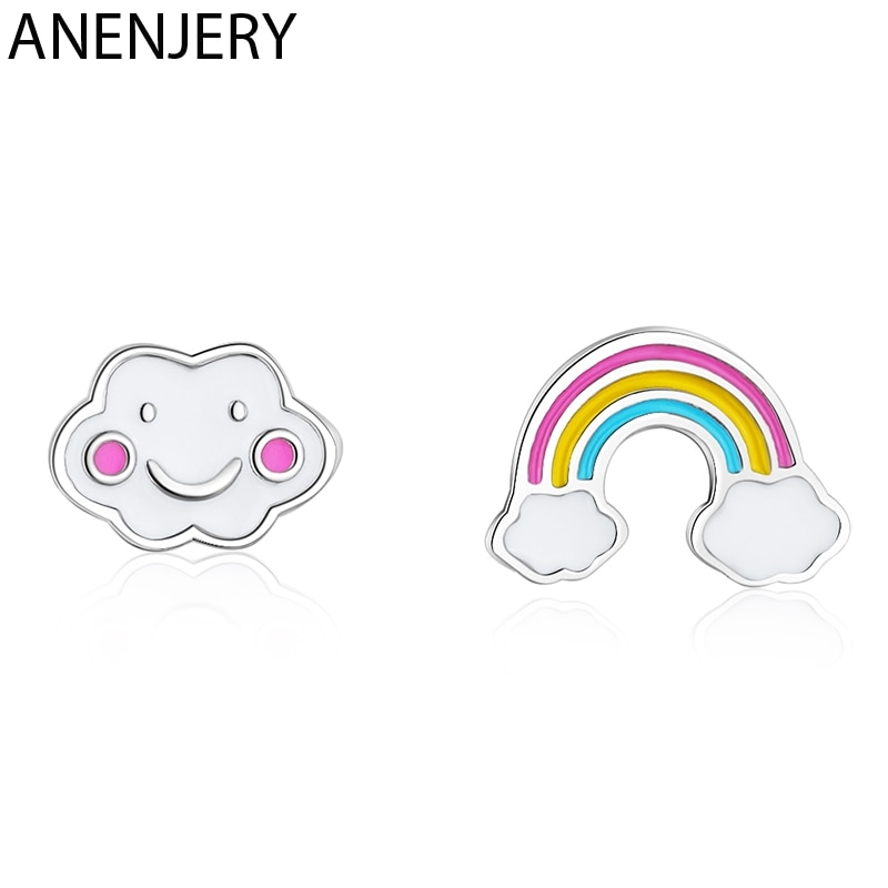 Aretes de sillín asimétricos anenjary simples y bonitos con diseño de nube de arcoíris, pendientes de plata de ley 925, joyería para niñas S-E956