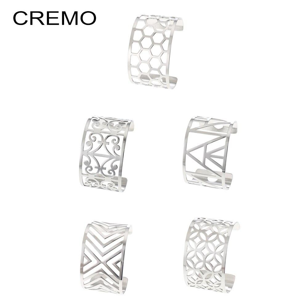 Cremo Cuff Bracelets Les Manchette Femme mujeres brazaletes de acero inoxidable delicado diseño minimalista brazalete 40mm Pulseras de ancho