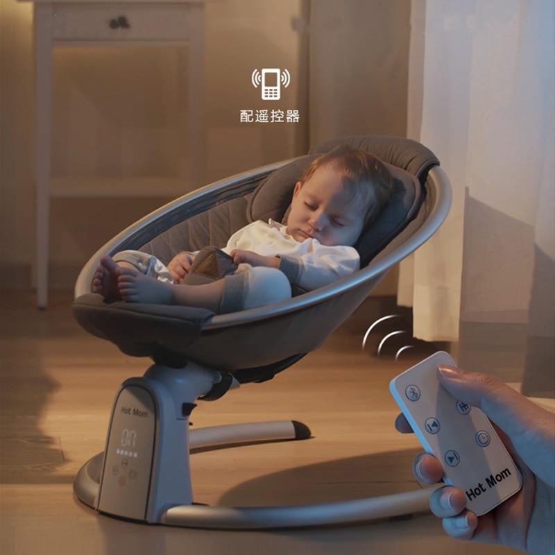 Hotmom كرسي هزاز للرضع حديثي الولادة الراحة قابل للتعديل النوم الكهربائية مهد الوليد ل-2 سنة