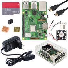 Raspberry Pi 3 Model B Plus Kit WiFi и Bluetooth плата + адаптер питания 3A + акриловый чехол + кулер + кабель для Raspberry Pi 3 B +