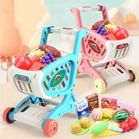 15pcsset shopping cart supermarket trolley push car girls toys cutting food fruit pretend play kids toy mini shopping basket