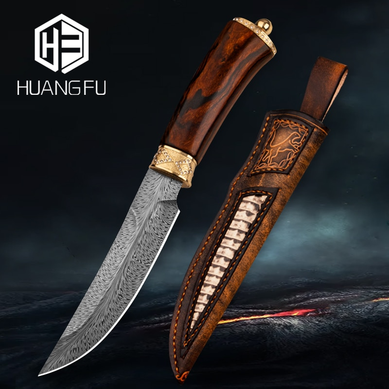 Feather Stripe Japanese Damascus Knife Fixed Blade Hiking Hunting Knife Handle Inlaid with 24K Gold High-end Collection Knife