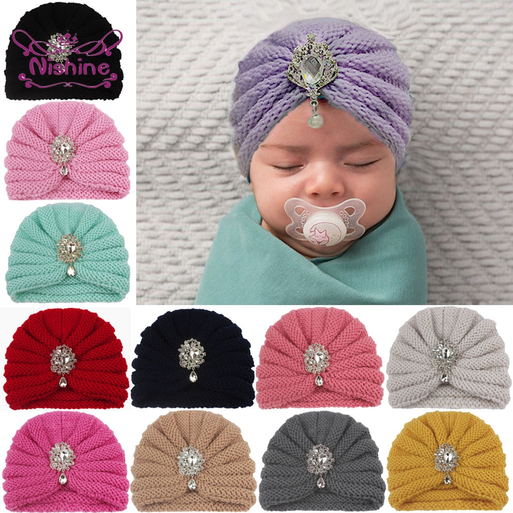 16*12.5 CM Knitted Wool Hats Shining Rhinestone Solid Color Stripe Caps Baby Girls Keep Warm Beanie Children Hair Accessories