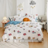 new four piece bedroom bed fashionable pure cotton warm quilt cover cartoon childrens student dormitory family bed sheet set