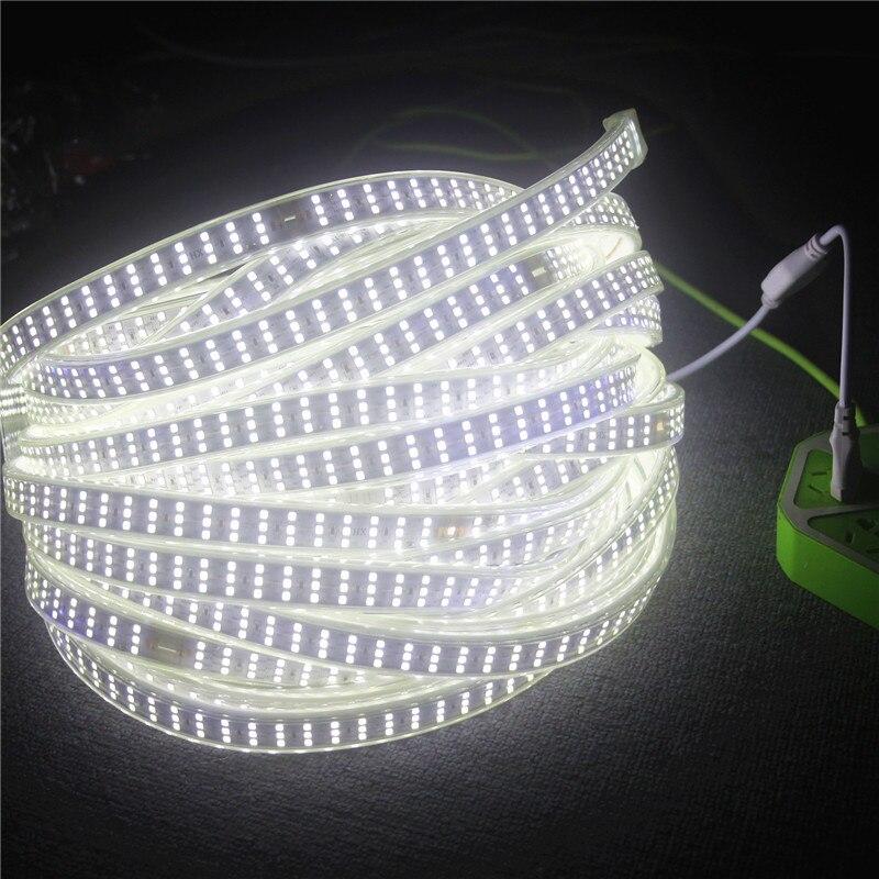 276 Leds/m 180 leds/m SMD 2835 220V LED tira de lámpara impermeable tres filas LED cinta cuerda Flexible LED luz exterior decoración luces