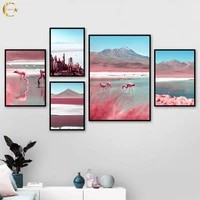 pink mountain flamingo cactus canvas painting nordic wall art posters and prints landscape wall pictures for living room decor