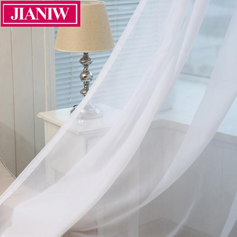 JIANIW barato blanco Semi ventana transparente cortinas elegantes paneles cortina de gasa tratamiento de tul para dormitorio sala de estar