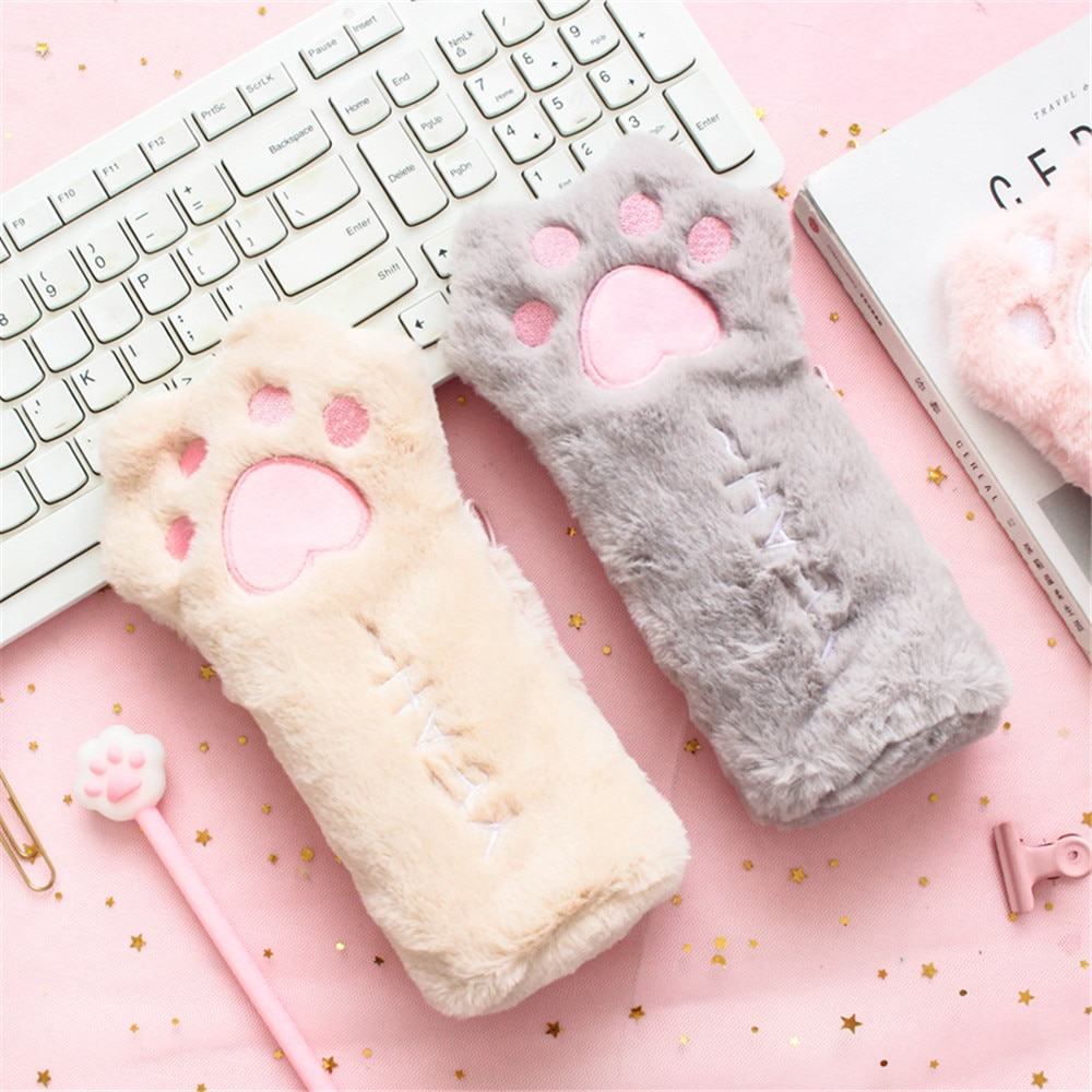 Cut Cat Paw Pencil Bag Soft Plush Cosmetics Pouch Large Capacity Pencil Case Pen Holder Stationery Organizer Kawaii Stationery