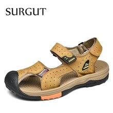 Sandalias SURGUT Marca novedosa de verano para hombre, sandalias romanas de cuero para playa para hombre, zapatos de marca para hombre, chanclas, zapatillas, zapatillas, zapatos de verano