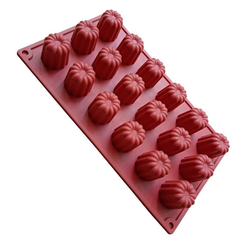 1pc sobremesa ferramentas bolo molde para assar 18-cavidade cannelés moldes de silicone molde francês sobremesa anjo sino