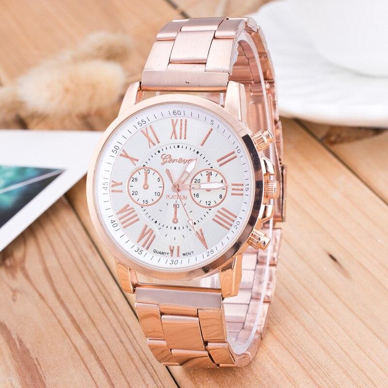 2019 New Famous Brand Geneva Rosy Gold Casual Quartz Watch Women Full Stainless Steel Dress Watches Relogio Feminino Hot Clock