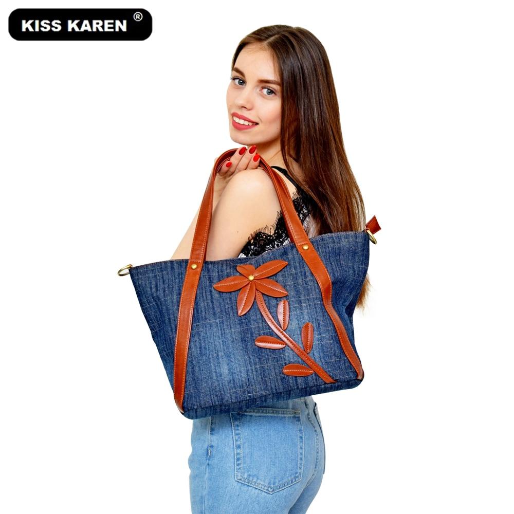KISS KAREN Classic Denim Casual Totes Jeans Women Bag Vintage Fashion Ladies Handbags Women's Shoulder Bags New Purse Tote