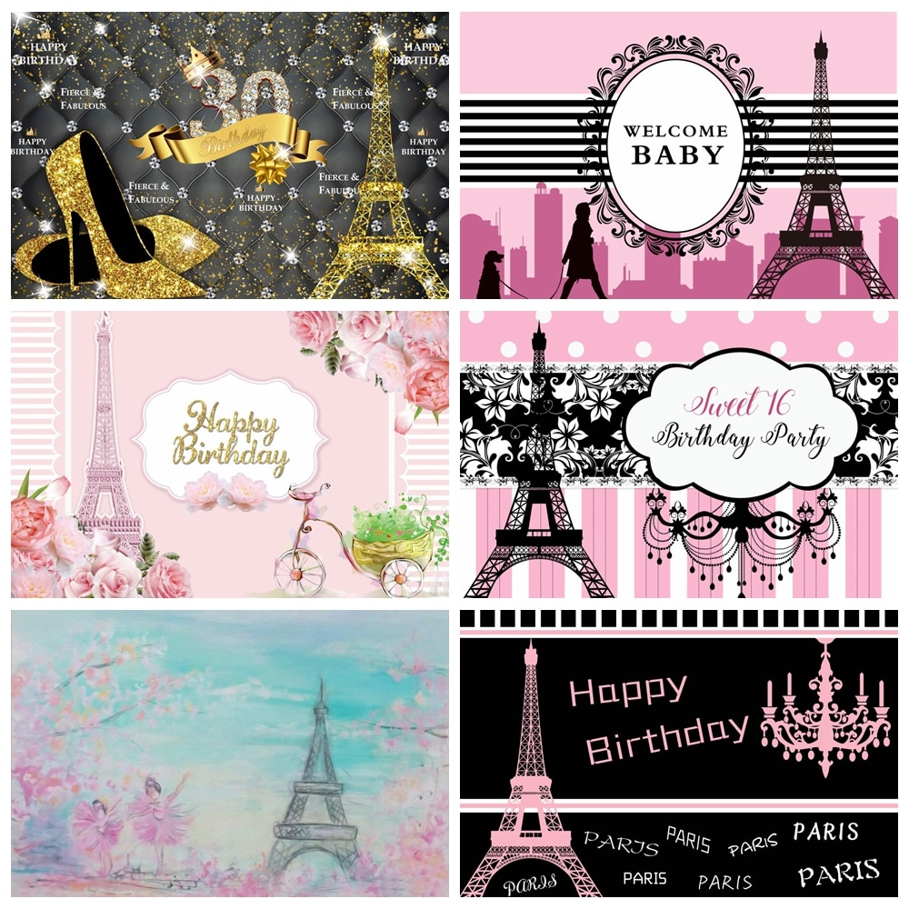 Laeacco Birthday Photocall Pink Paris Eiffel Tower Flowers Chandelier Custom Photography Backdrops Baby Newborn Backgrounds Prop