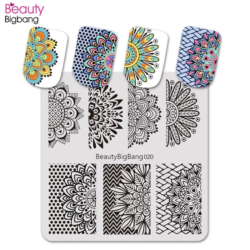 BeautyBigBang 1Pcs 6*6cm Square Stamp Plate Polka Dot Mandala Flower Theme Nail Art Accessories Mold Stamping Plate