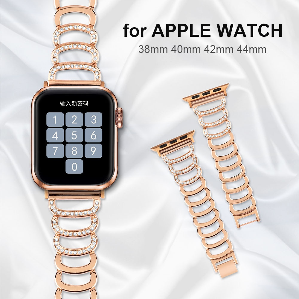 Women Bangle for Apple Watch Band 38mm 40mm iWatch SE Bling Jewelry Wristband Metal Replacement Stra