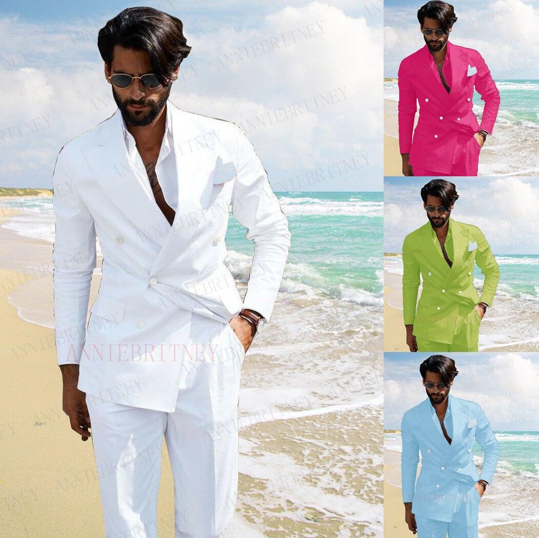 2021 الصيف الرجال الشاطئ بدلة الزفاف 2 قطع شابو مصباح من قماش الكتّان الأبيض عادية السترة مخصص سليم صالح العريس أفضل رجل سترة سهرة مع السراويل