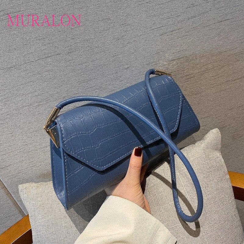 Ladies Handbags 2020 New Crossbody Fashion Small Bag All-Match Baguette Crocodile Print Shoulder Dag