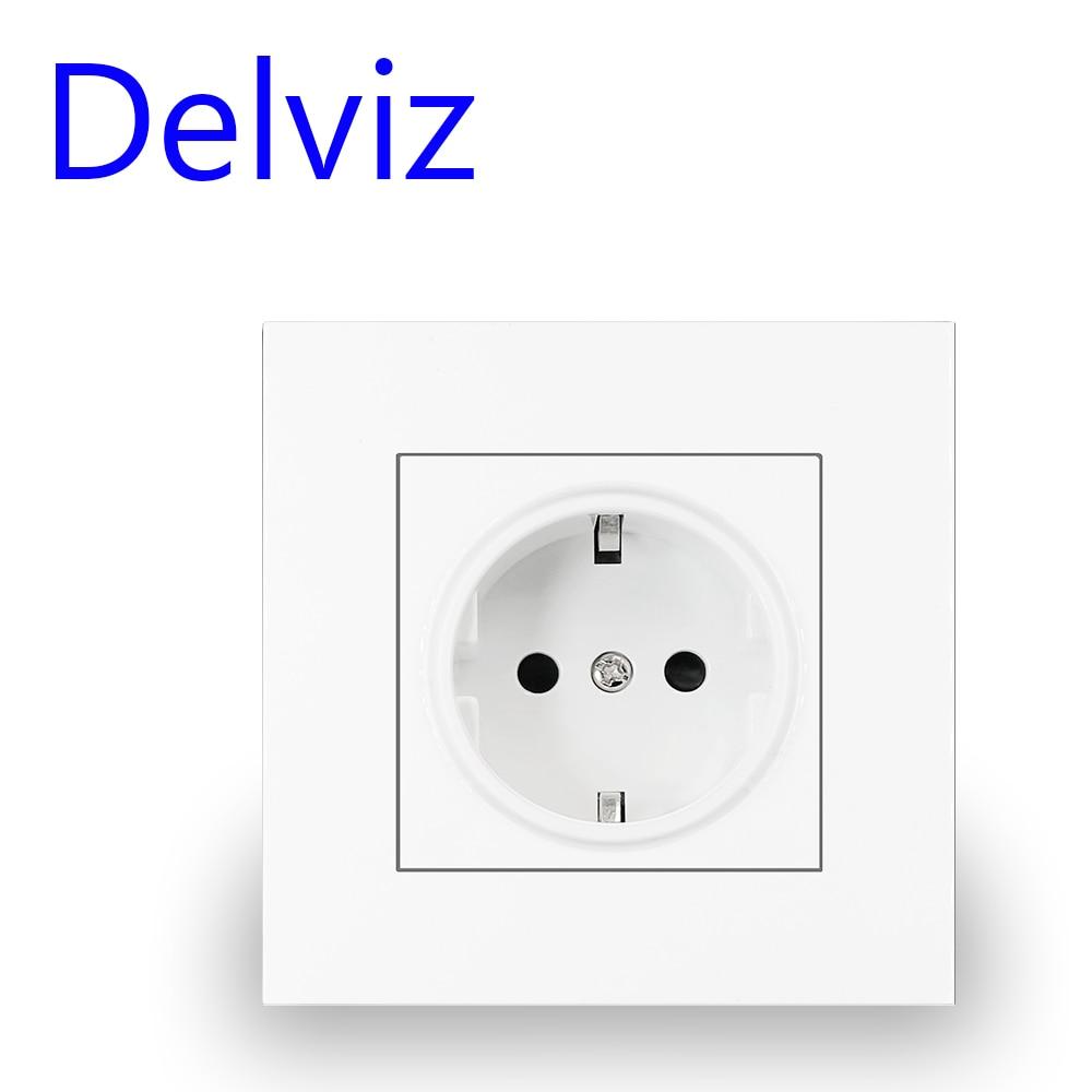 Delviz Wall White Panel Socket Power Plug Grounded 16A European EU AC110V250V 86mm Round hole Germany standard Electrical Outlet