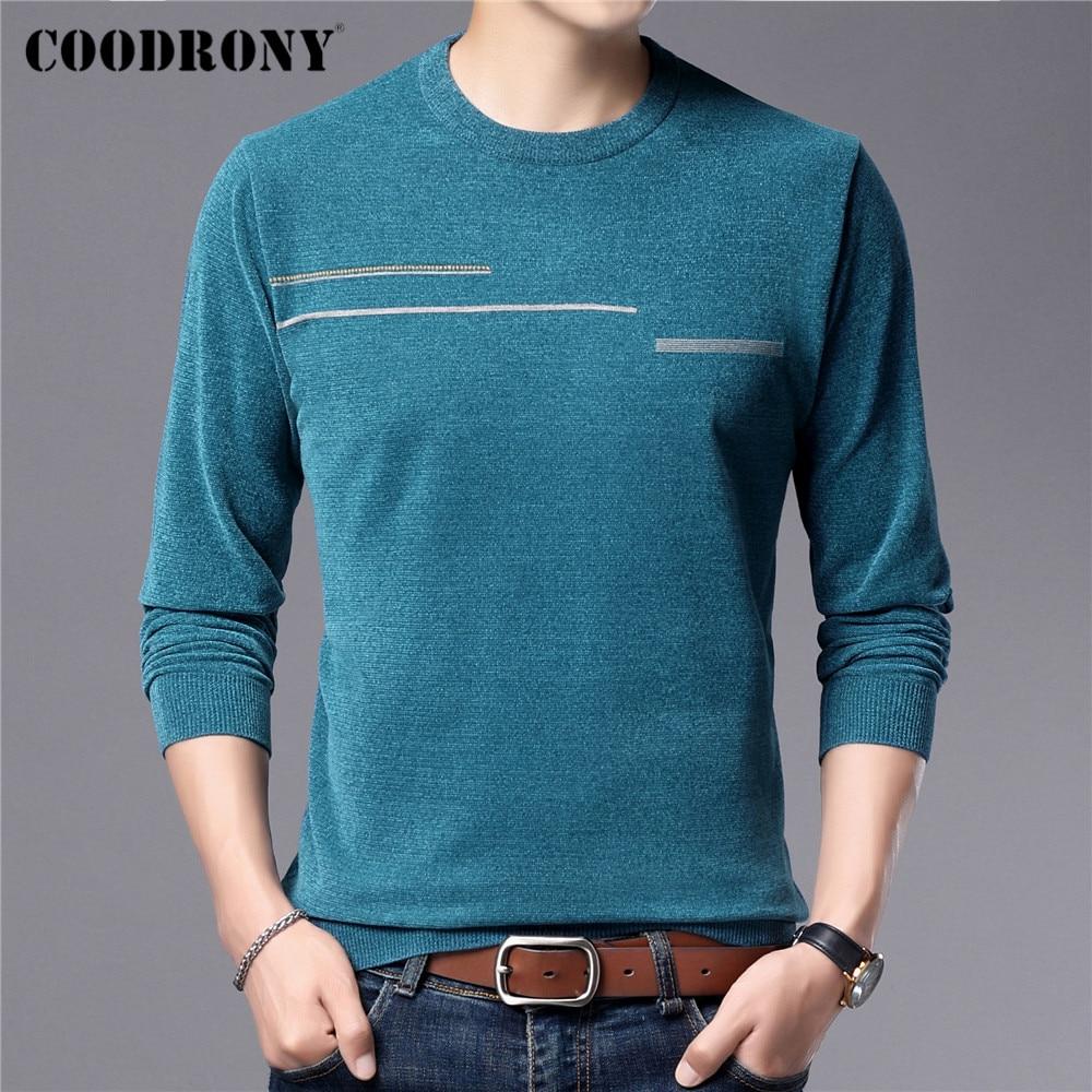 COODRONY – pull en maille à col rond pour homme, vêtement de marque en Jersey Chenille, doux et chaud, nouvelle collection automne hiver, C1330
