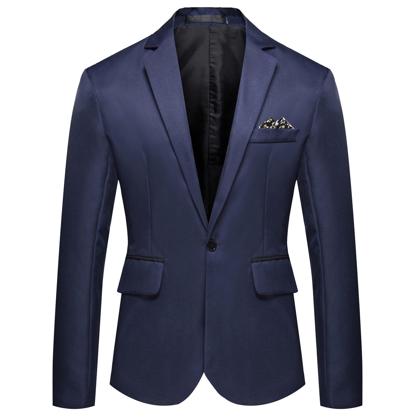 Male Suit Coat Slim Fit Office Blazer-Jackets Fashion Men's Casual Business Wedding Long Sleeve Butt