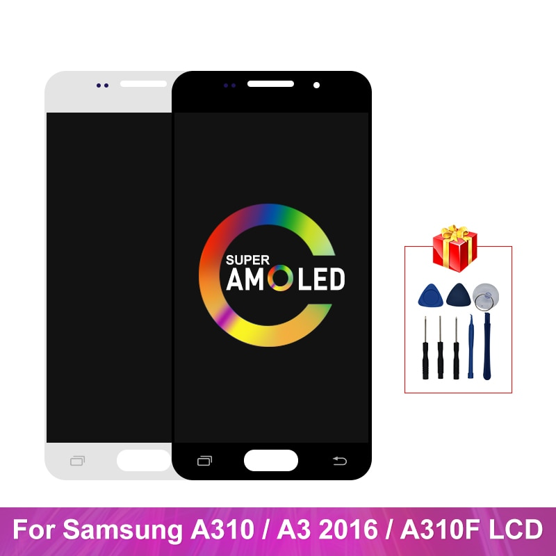 شاشة Super AMOLED A310 لهاتف Samsung Galaxy A310 A3 2016 ، شاشة تعمل باللمس ، محول رقمي ، قطع غيار لـ A310F LCD