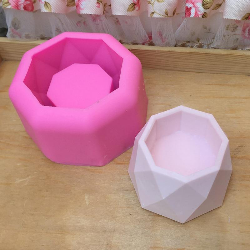 Geomeric Flower Pot Silicone Molds Succulent Plant Flower Pot Mould DIY Garden Planter Concrete Vase Soap Mould Candle Holder