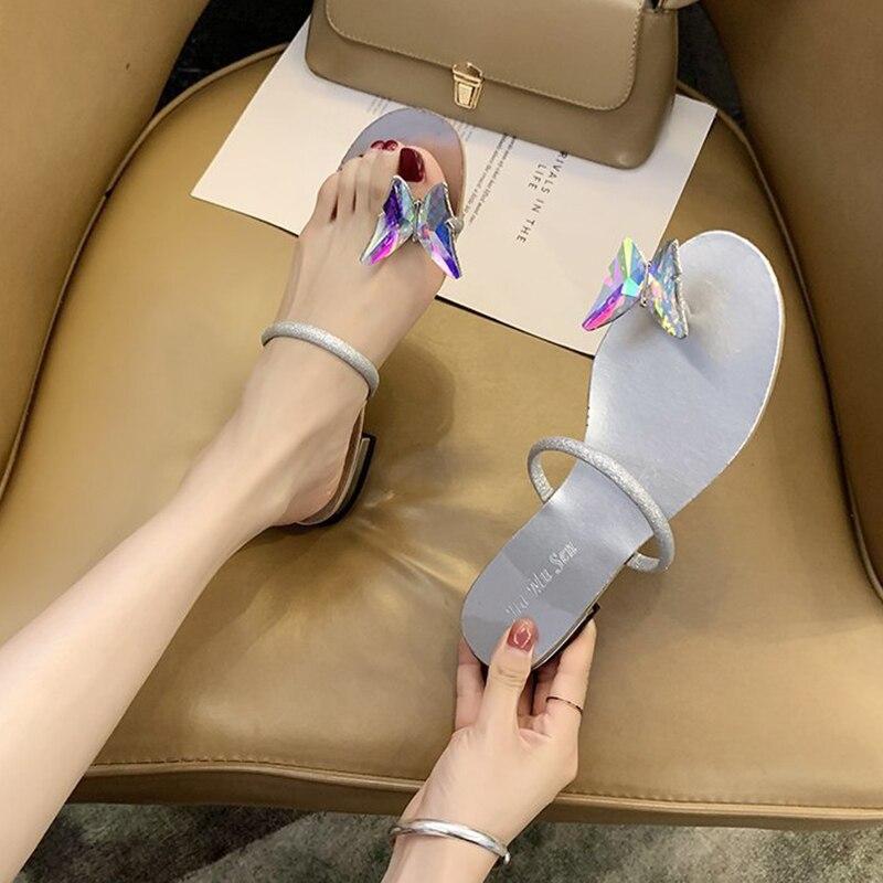 Rimocy Luxury Rhinestones Bow Low Heel Slippers Woman Fashion Strap Beach Flip Flops Women Summer Clip-toe Gold Silver Sandals