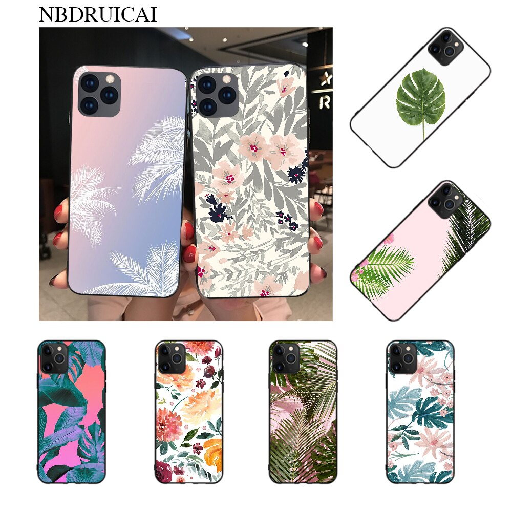 Funda NBDRUICAI Tropic para teléfono móvil en color Beige y rosa dorado TPU negro, carcasa para iPhone 11 pro XS MAX 8 7 6 6S Plus X 5S SE XR