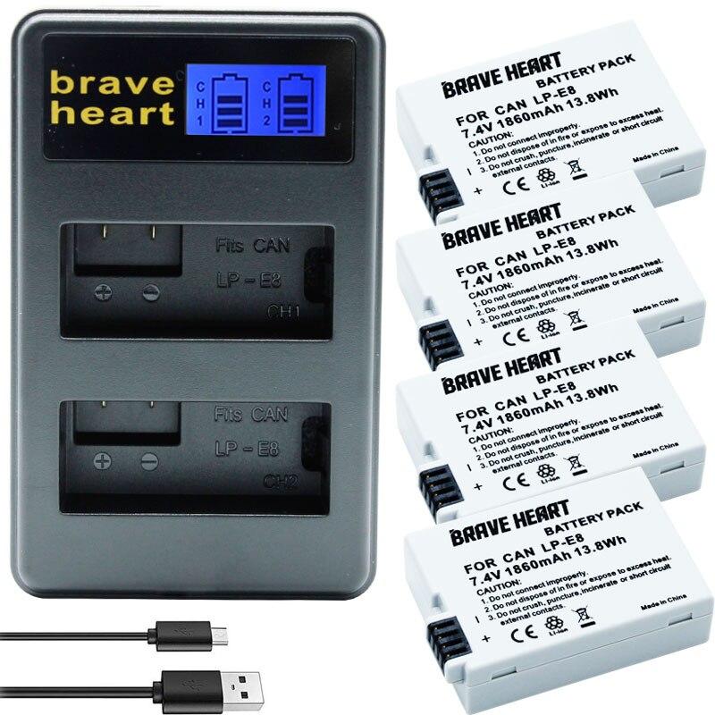 7,4 v 1860mah bateria LP E8 batería AKKU + cargador doble para...