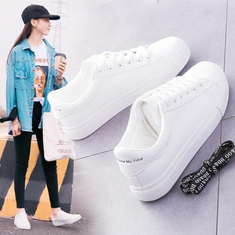 Women Sneakers New 2019 Fashion Breathble Vulcanized Shoes Women Pu leather Platform Shoes Women Lac