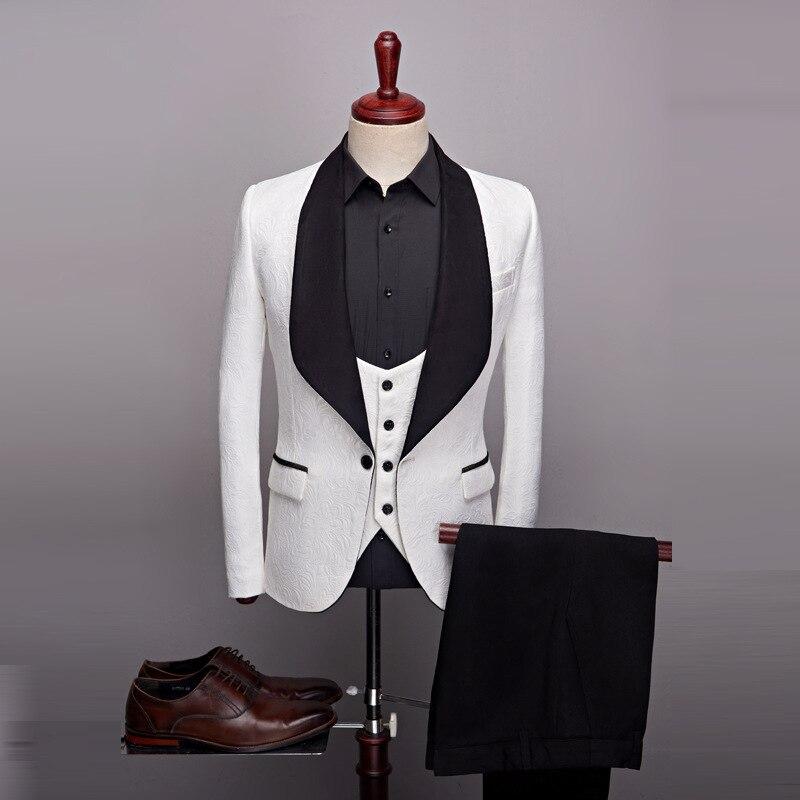 (Пиджак + жилет + брюки) 2021 мужской облегающий комплект из 3 предметов официальный облегающий смокинг костюм на выпускной/мужской свадебный б...
