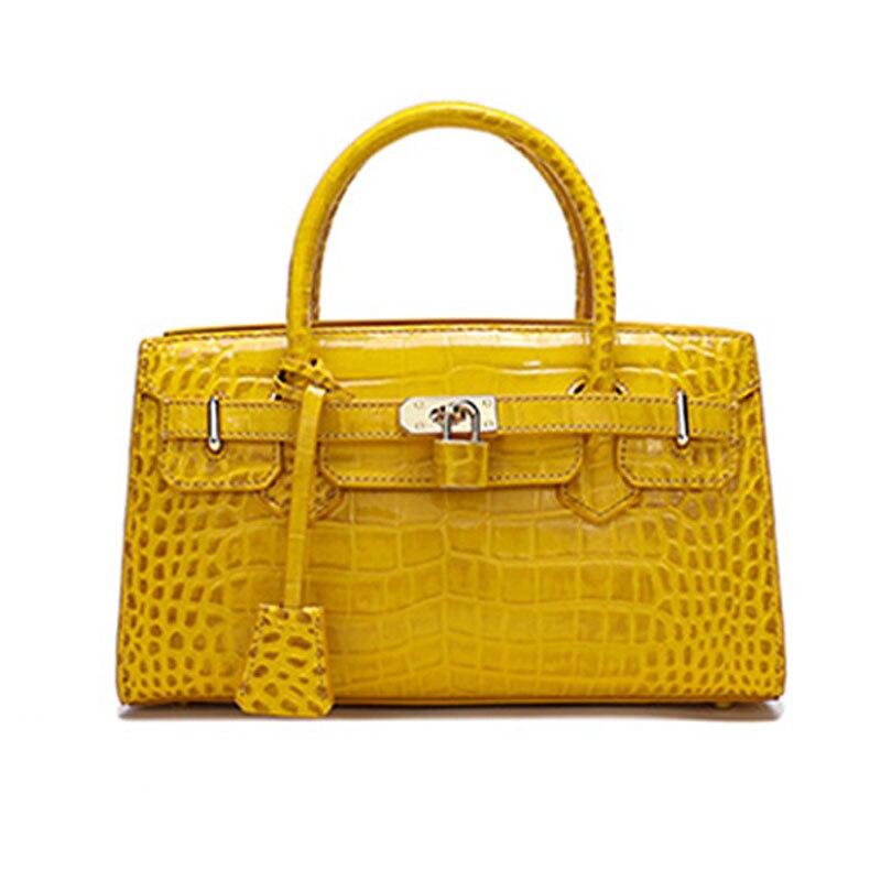جودة المرأة حقيبة جلدية أصلية جلد التمساح حقيبة فاخرة مصمم المرأة حقيبة يد جلدية العلامة التجارية الشهيرة كيس دي لوكس فام