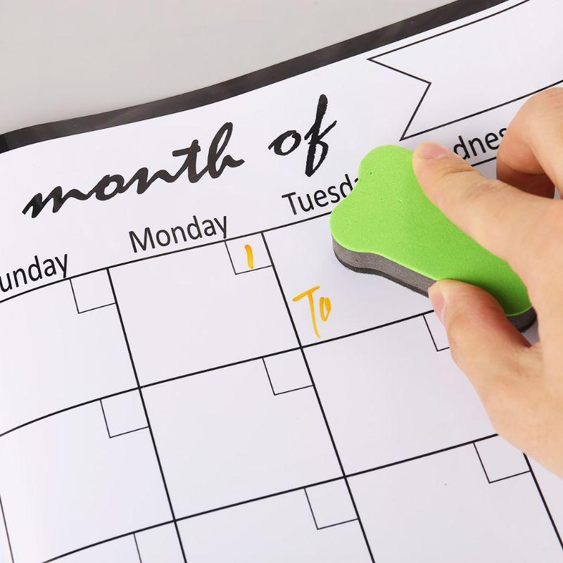 Monthly Planner Magnetic Whiteboard Fridge Magnets Drawing Message Board Remind K3KB