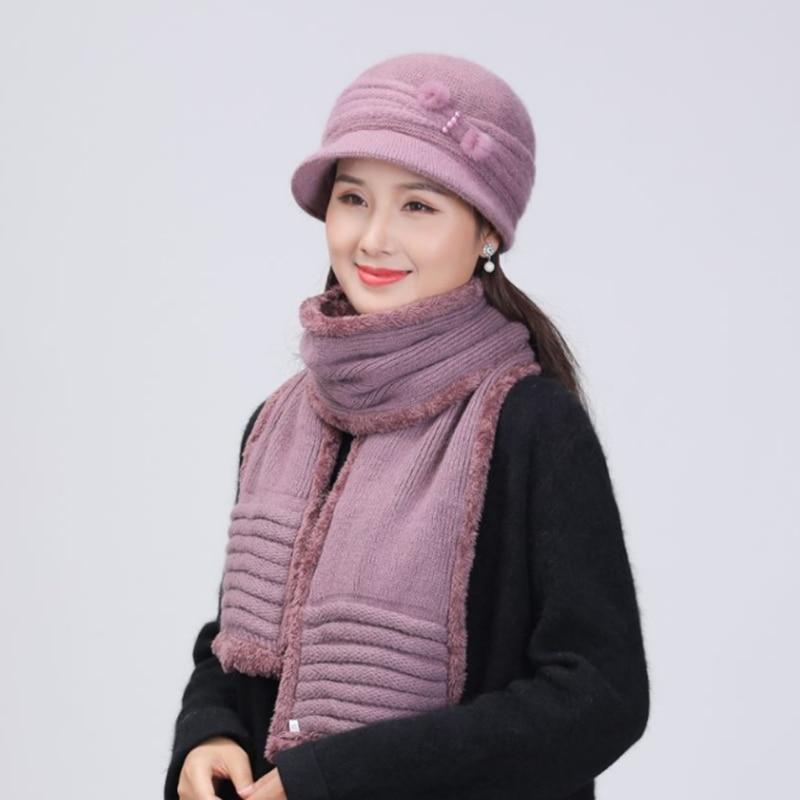 SUOGRY Brand Rabbit Fur Knitted Scarf Winter Women Hat Thick Mom Beanies Warm Cap Rhinestone Wool Hats Set for Women