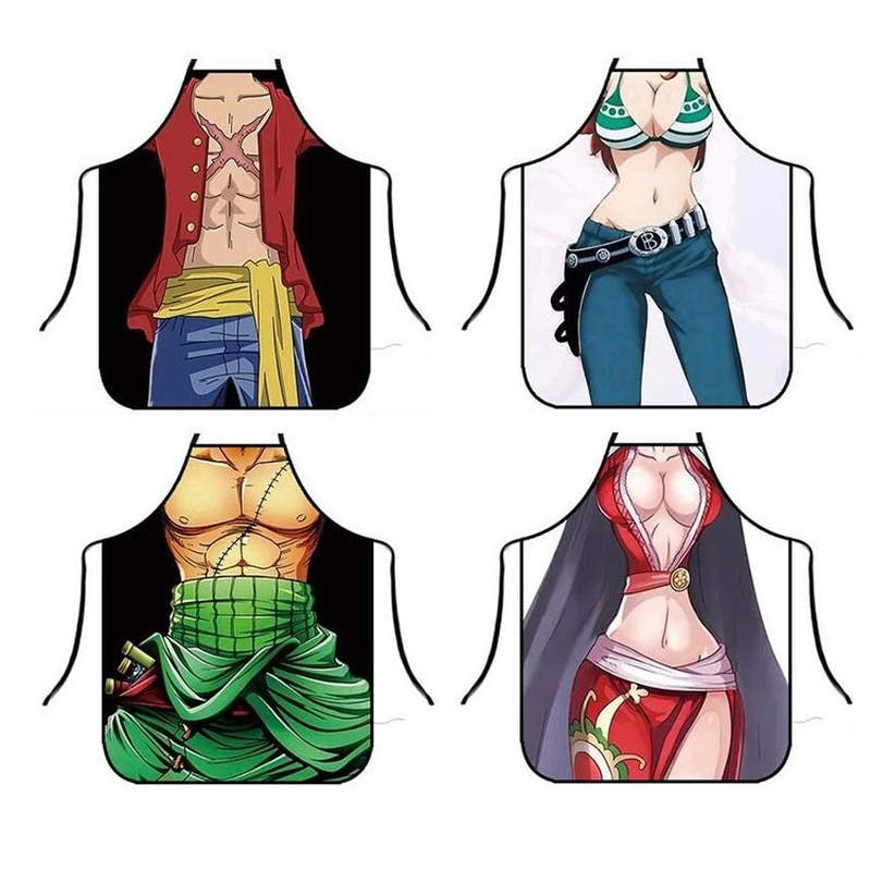 Funny Apron Cartoon One Piece Aprons Luffy Kitchen Apron Dinner Party Cooking Apron Adult Baking Accessories new cotton aprons фартук canvas pockets baking chefs kitchen cooking apron фартук кухонный chefs with hat household merchandises