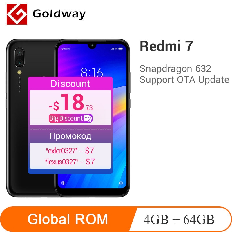 "Global ROM Xiaomi Redmi 7 4GB RAM 64GB ROM Mobile Phone Snapdragon 632 Octa Core 12MP Camera 4000mAh Battery 6.26"" Full Screen"