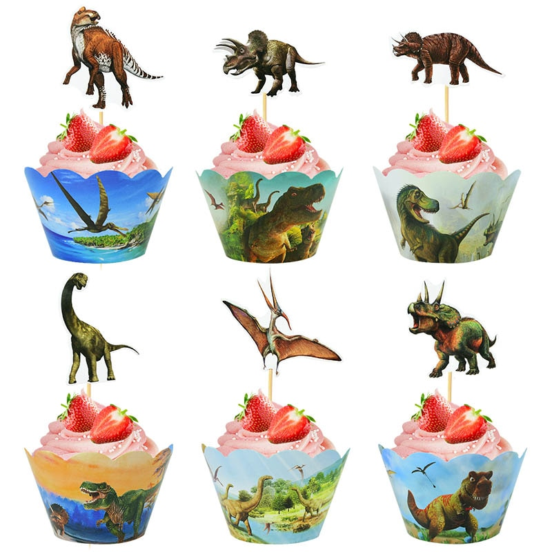 24pcs Dinosaur Birthday Cupcake Wrappers Dino Roar Jungle Safari Cake Topper For Baby Shower Jurassic World Party Decor Cake Cup
