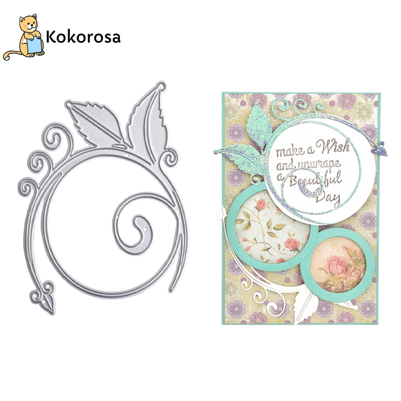 Troqueles de corte de Metal Kokorosa Leaf Swirly, plantillas de pluma, fabricación de tarjetas artesanales, troqueles de grabación en relieve para álbum de recortes, plantilla, troquel de decoración cortada