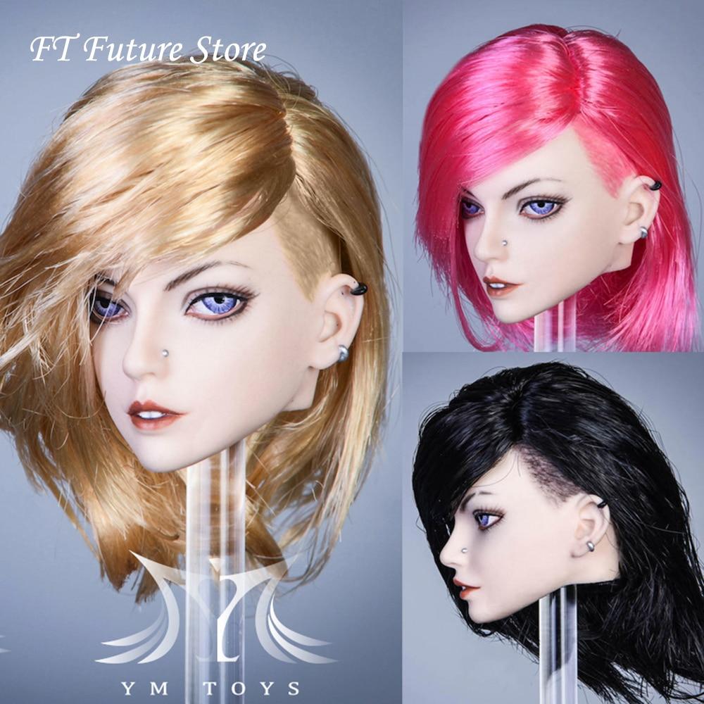 Juguetes coleccionables pre-venta YMTOYS YMT032 1/6 escala chica punk cabeza esculpir Ethel negro/rojo/amarillo modelo de pelo para 12 TBL figura cuerpo