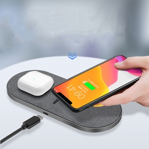 2 in 1 20W Dual Seat Qi Wireless Charger for Samsung Xiaomi Double Fast Charging Pad for IPhone 12 11 Pro XS XR X 8 Airpods Pro